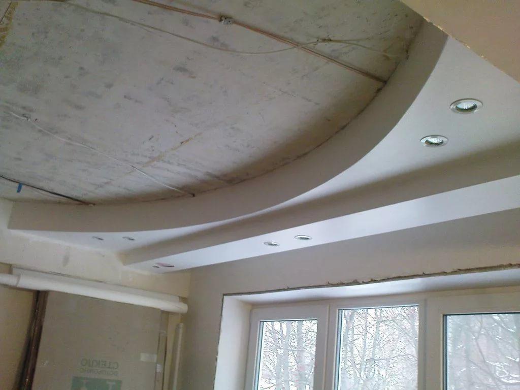 потолок из гипсокартона перед шпатлевкой