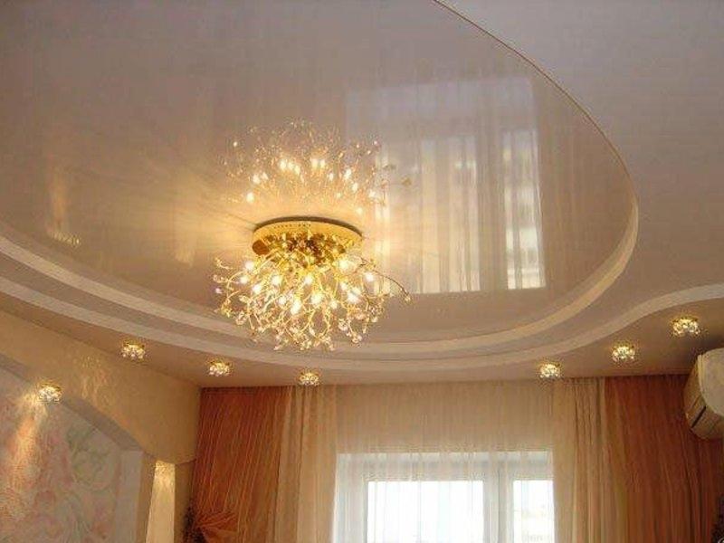 потолок из гипсокартона с натяжными потолками